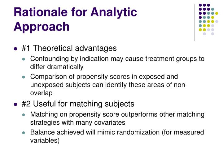 Rationale for Analytic Approach