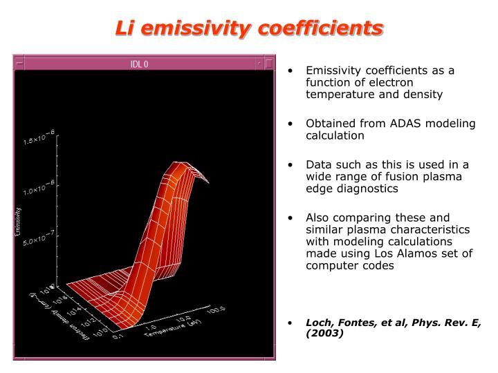 Li emissivity coefficients