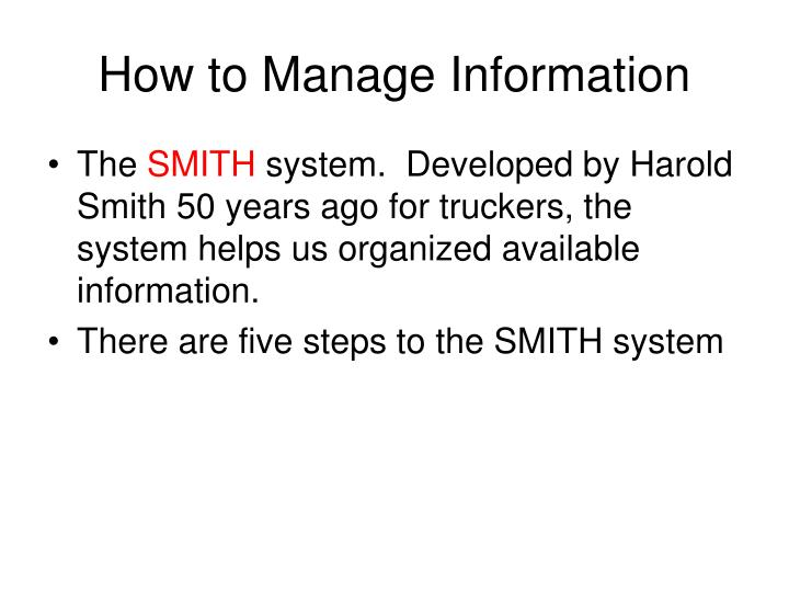 How to Manage Information