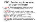 ipde another way to organize available information
