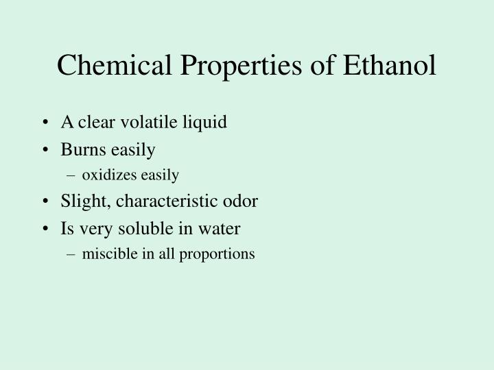 Chemical Properties of Ethanol