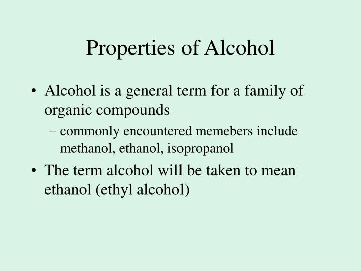 Properties of Alcohol