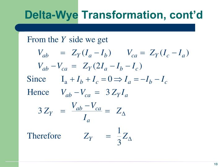 Delta-Wye Transformation, cont'd