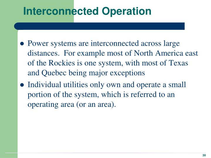 Interconnected Operation