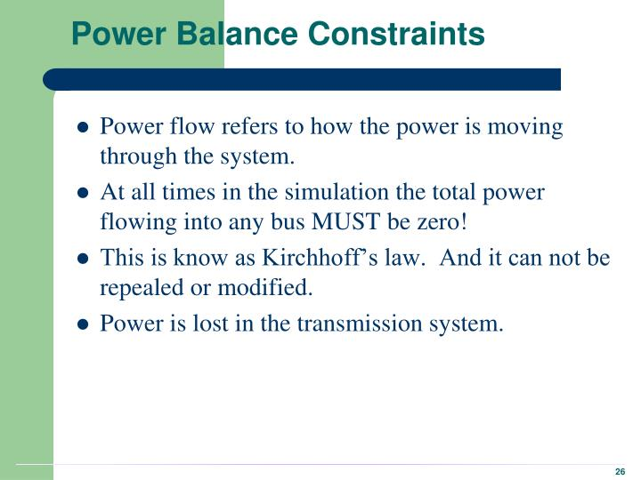 Power Balance Constraints