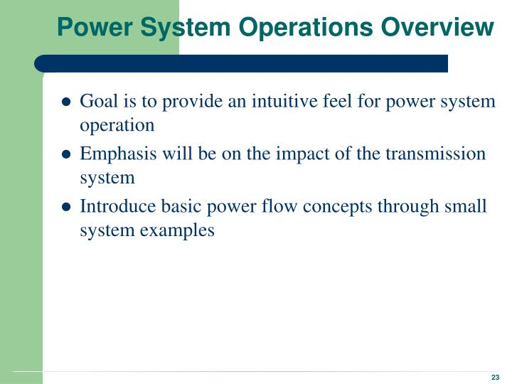 Power System Operations Overview