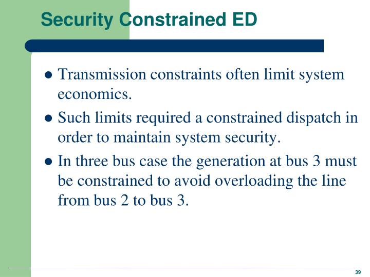 Security Constrained ED