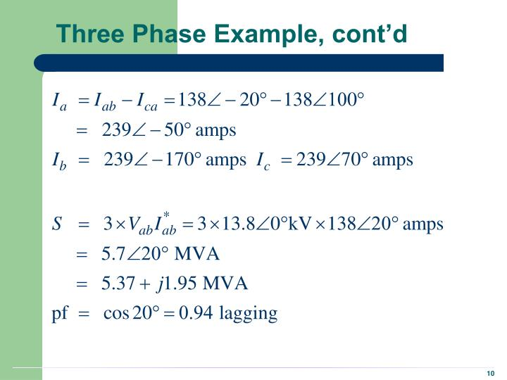 Three Phase Example, cont'd