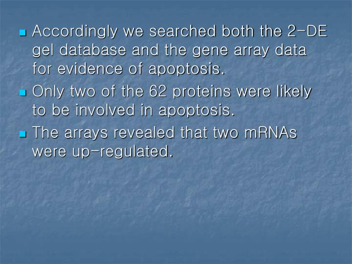 Accordingly we searched both the 2-DE gel database and the gene array data for evidence of apoptosis.