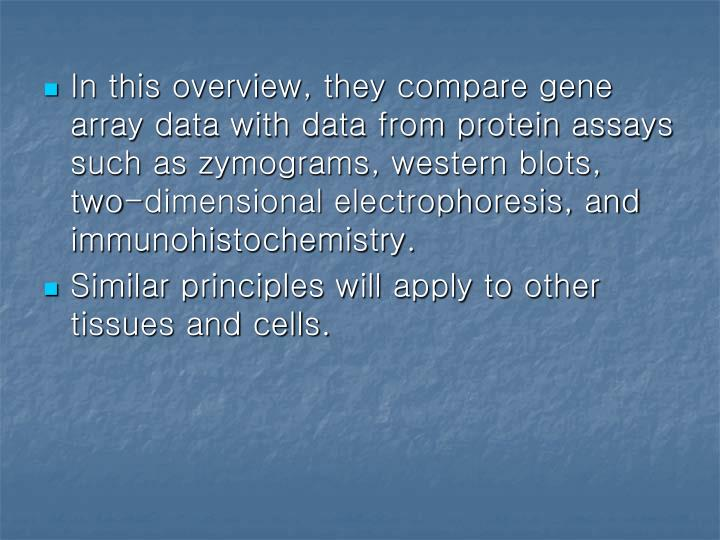 In this overview, they compare gene array data with data from protein assays such as zymograms, west...