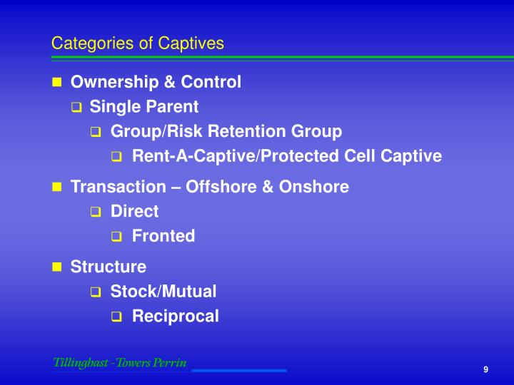 Categories of Captives