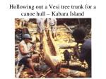 hollowing out a vesi tree trunk for a canoe hull kabara island