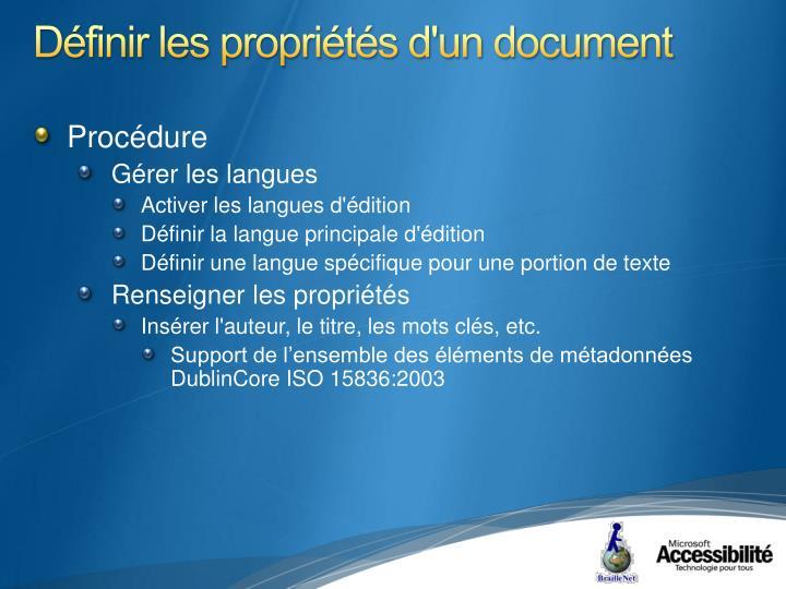 Définir les propriétés d'un document