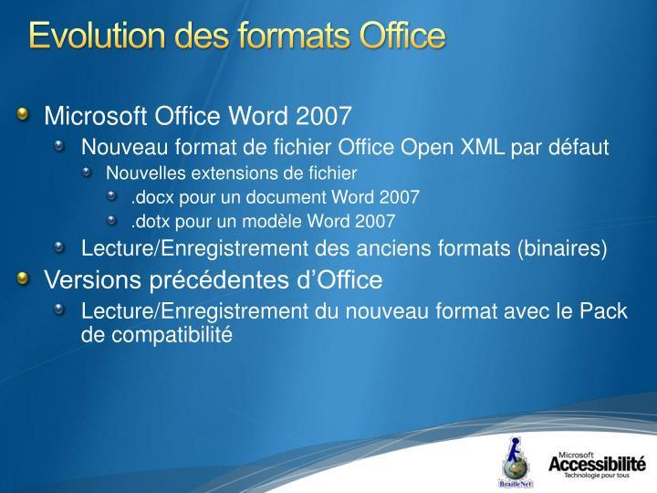 Evolution des formats Office