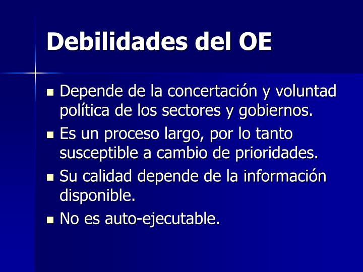 Debilidades del OE