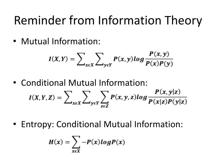 Reminder from Information Theory
