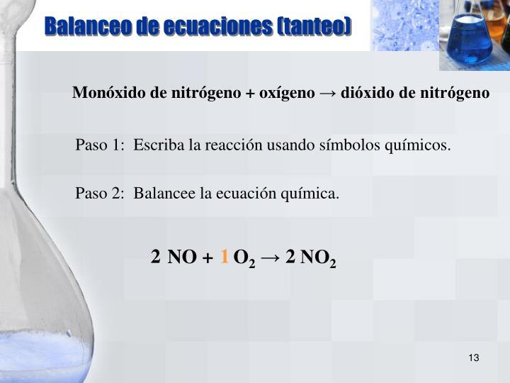Balanceo de ecuaciones (tanteo)