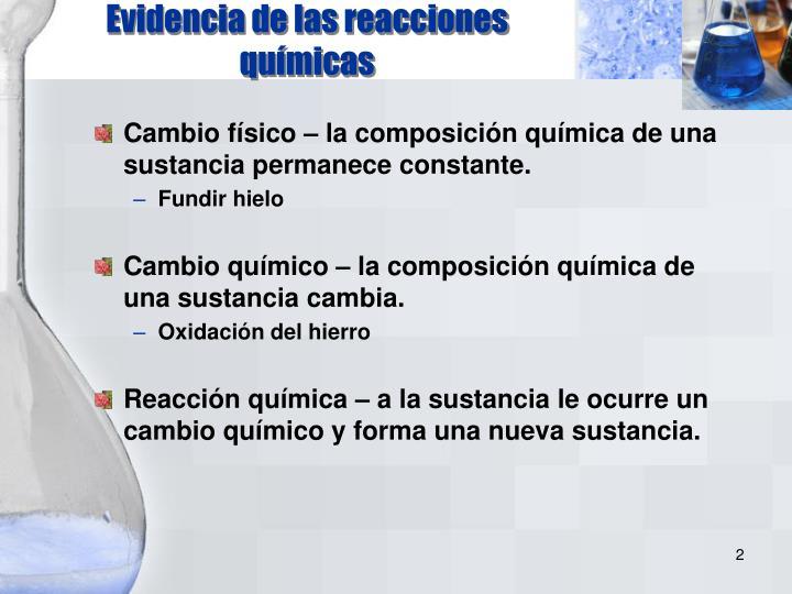 Evidencia de las reacciones químicas