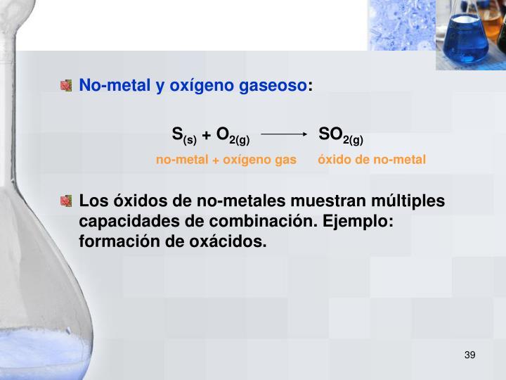 No-metal y oxígeno gaseoso