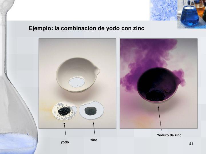 Ejemplo: la combinación de yodo con zinc