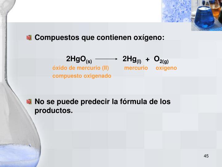 Compuestos que contienen oxígeno:
