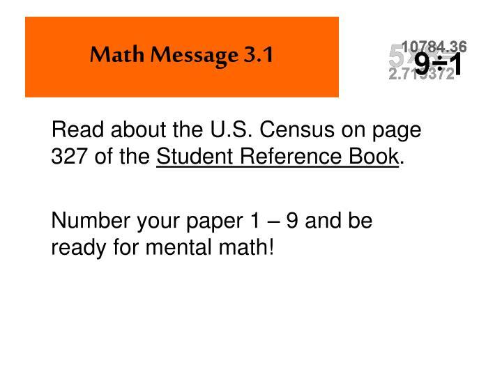 Math Message 3.1
