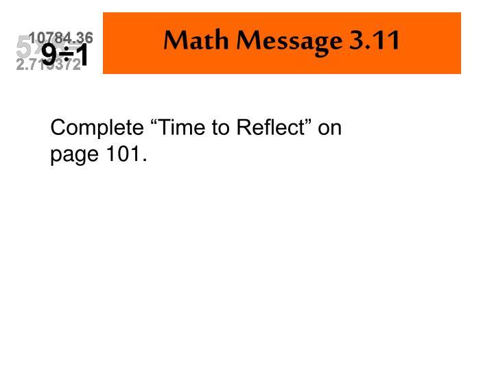 Math Message 3.11