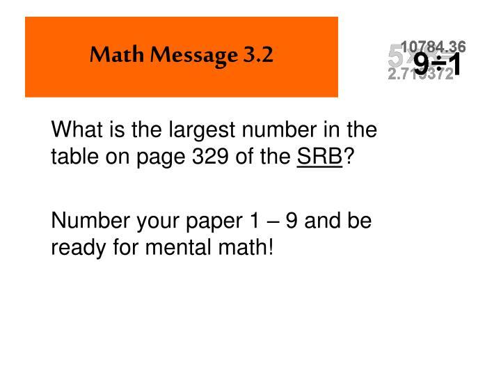 Math Message 3.2