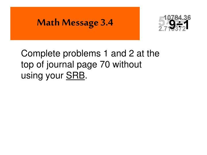 Math Message 3.4