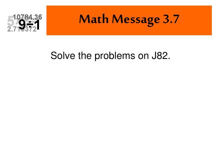 Math Message 3.7