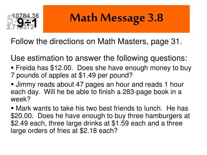 Math Message 3.8