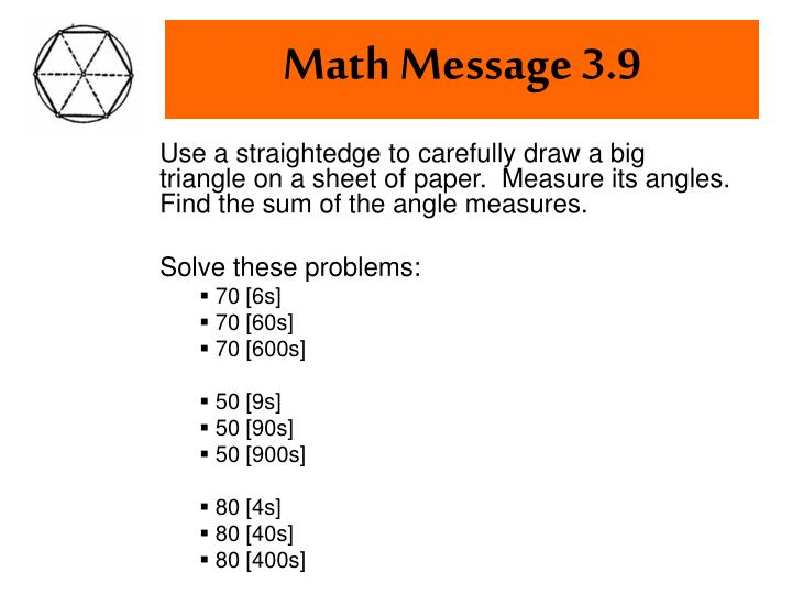 Math Message 3.9