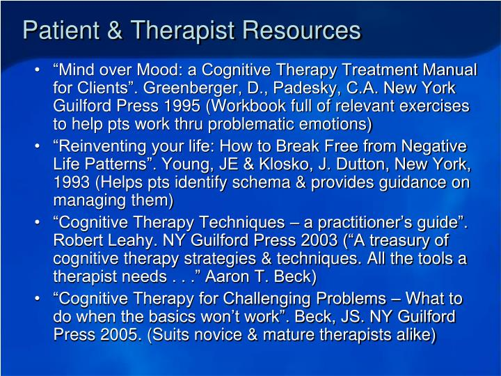 Patient & Therapist Resources