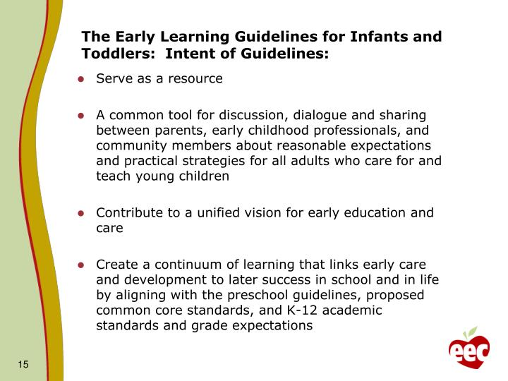 The Early Learning Guidelines for Infants and Toddlers:  Intent of Guidelines: