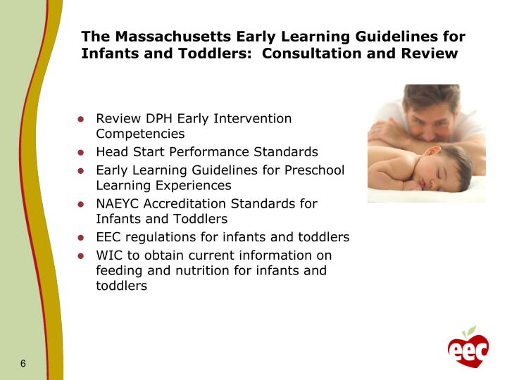 The Massachusetts Early Learning Guidelines for Infants and Toddlers:  Consultation and Review