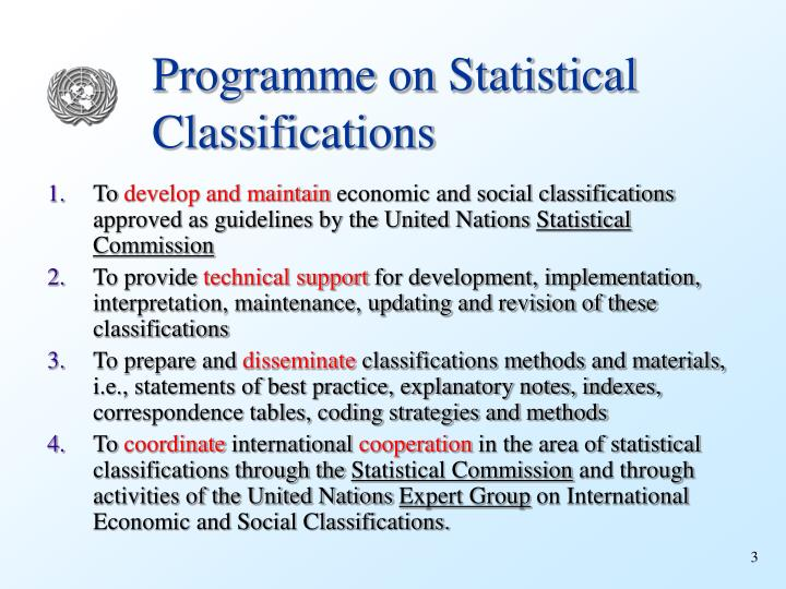 Programme on Statistical Classifications