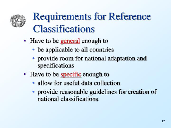 Requirements for Reference Classifications