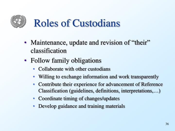 Roles of Custodians