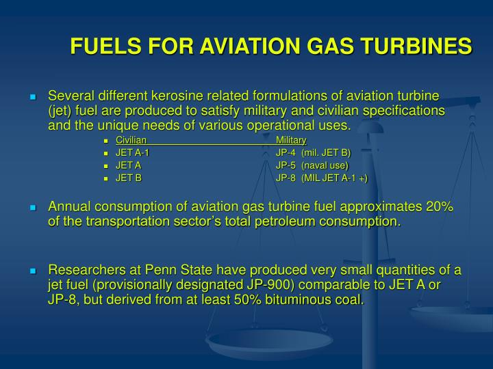 FUELS FOR AVIATION GAS TURBINES