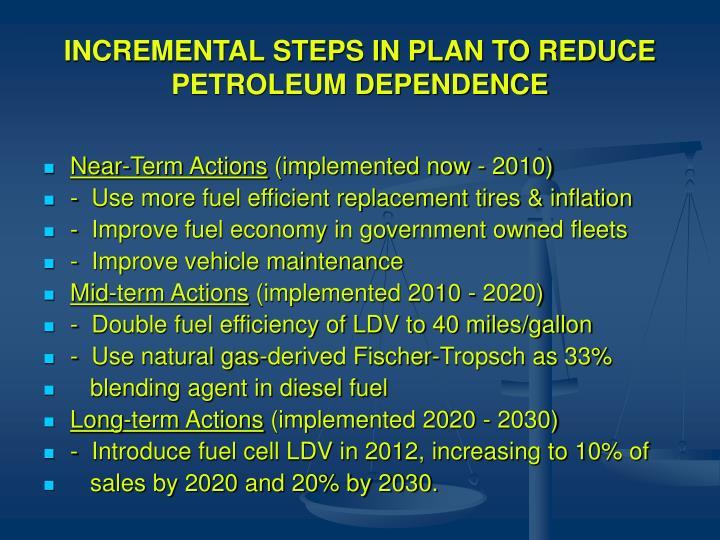 INCREMENTAL STEPS IN PLAN TO REDUCE