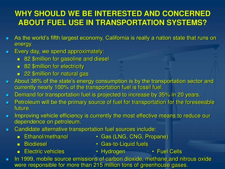 WHY SHOULD WE BE INTERESTED AND CONCERNED ABOUT FUEL USE IN TRANSPORTATION SYSTEMS?
