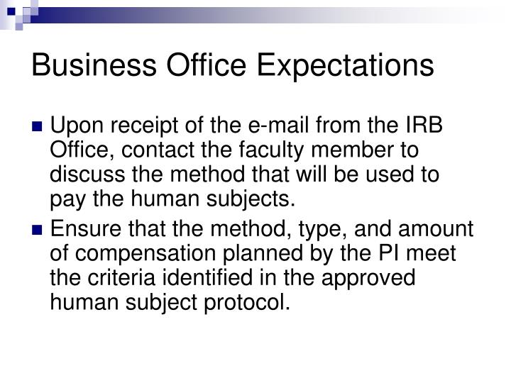 Business Office Expectations