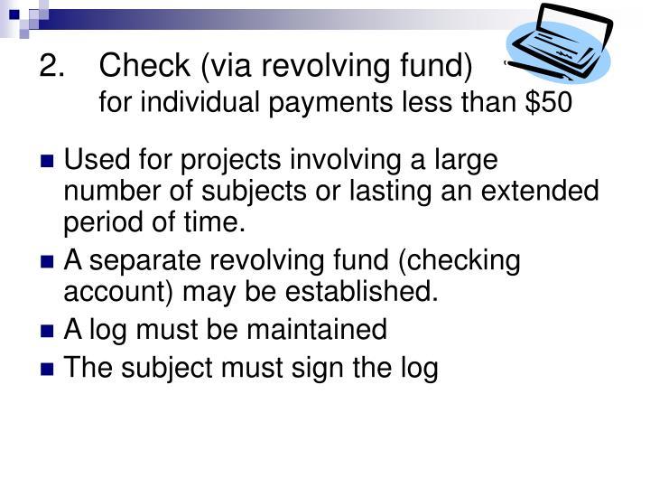 Check (via revolving fund)