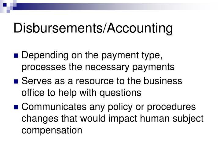 Disbursements/Accounting