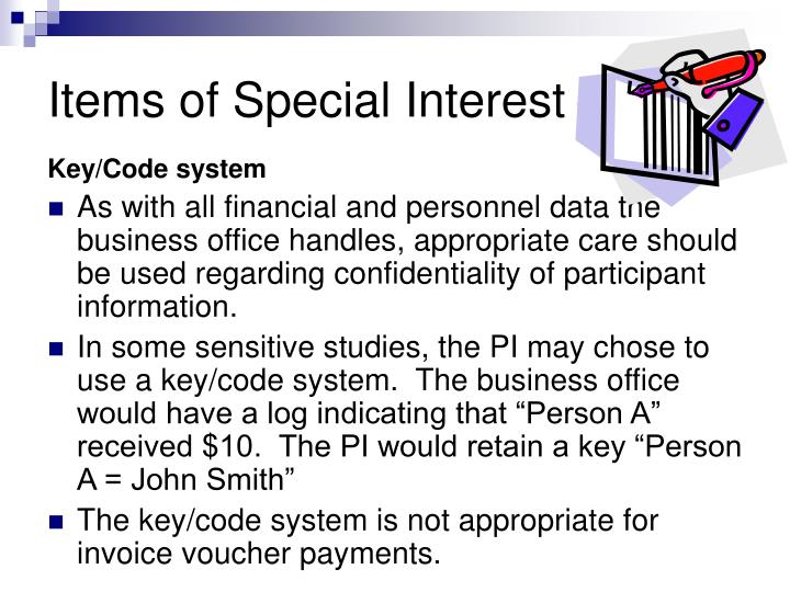 Items of Special Interest