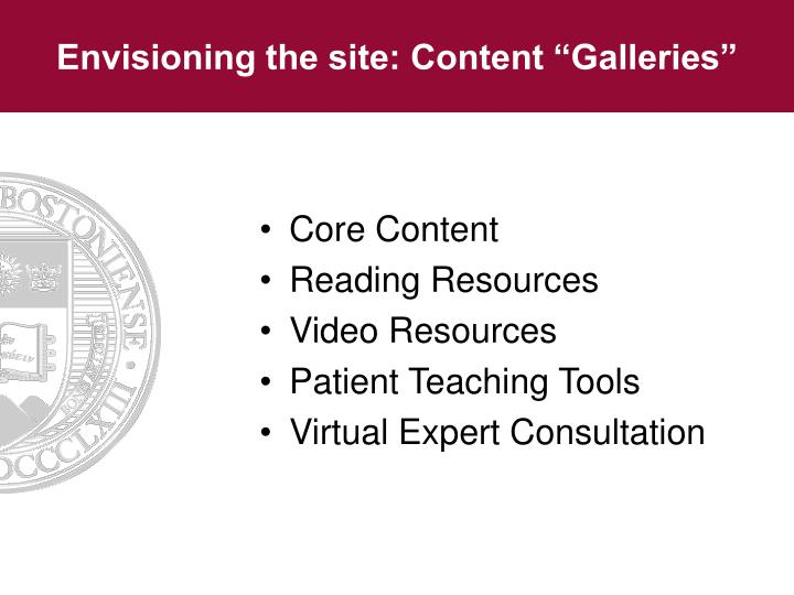 """Envisioning the site: Content """"Galleries"""""""
