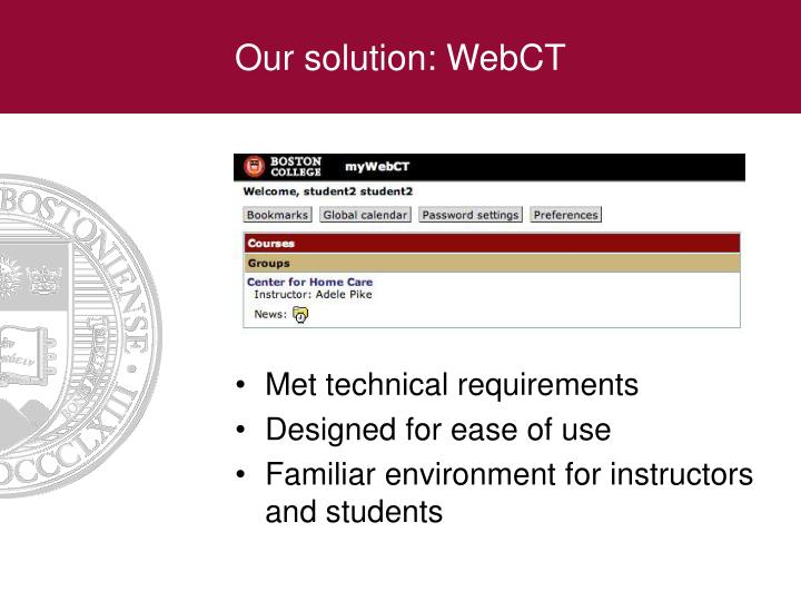 Our solution: WebCT