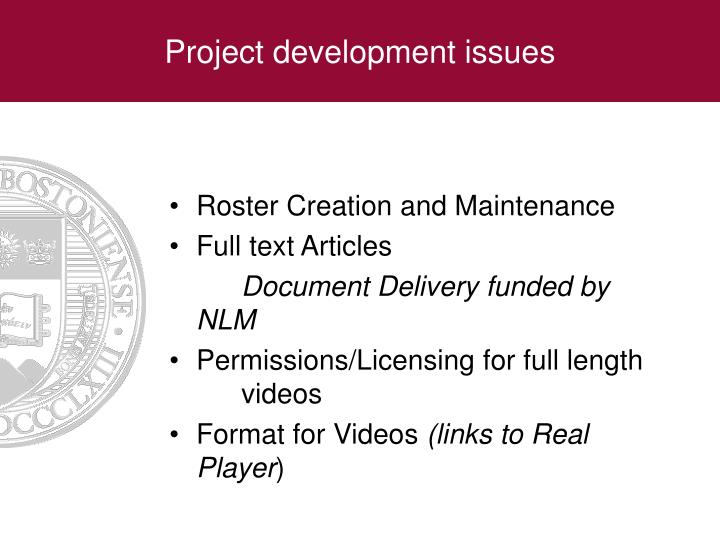 Project development issues
