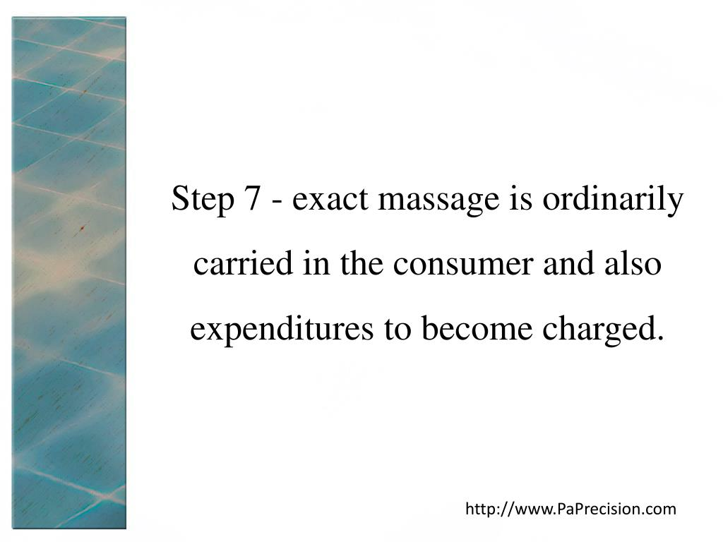 Step 7 - exact massage is ordinarily carried in the consumer and also expenditures to become charged.
