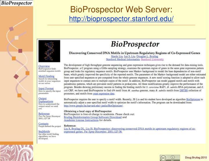 BioProspector Web Server: